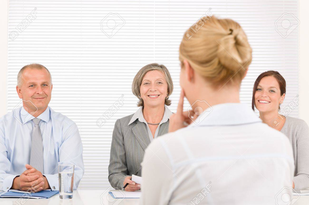 business interview young w being examined by professional business interview young w being examined by professional manager team stock photo 11288003