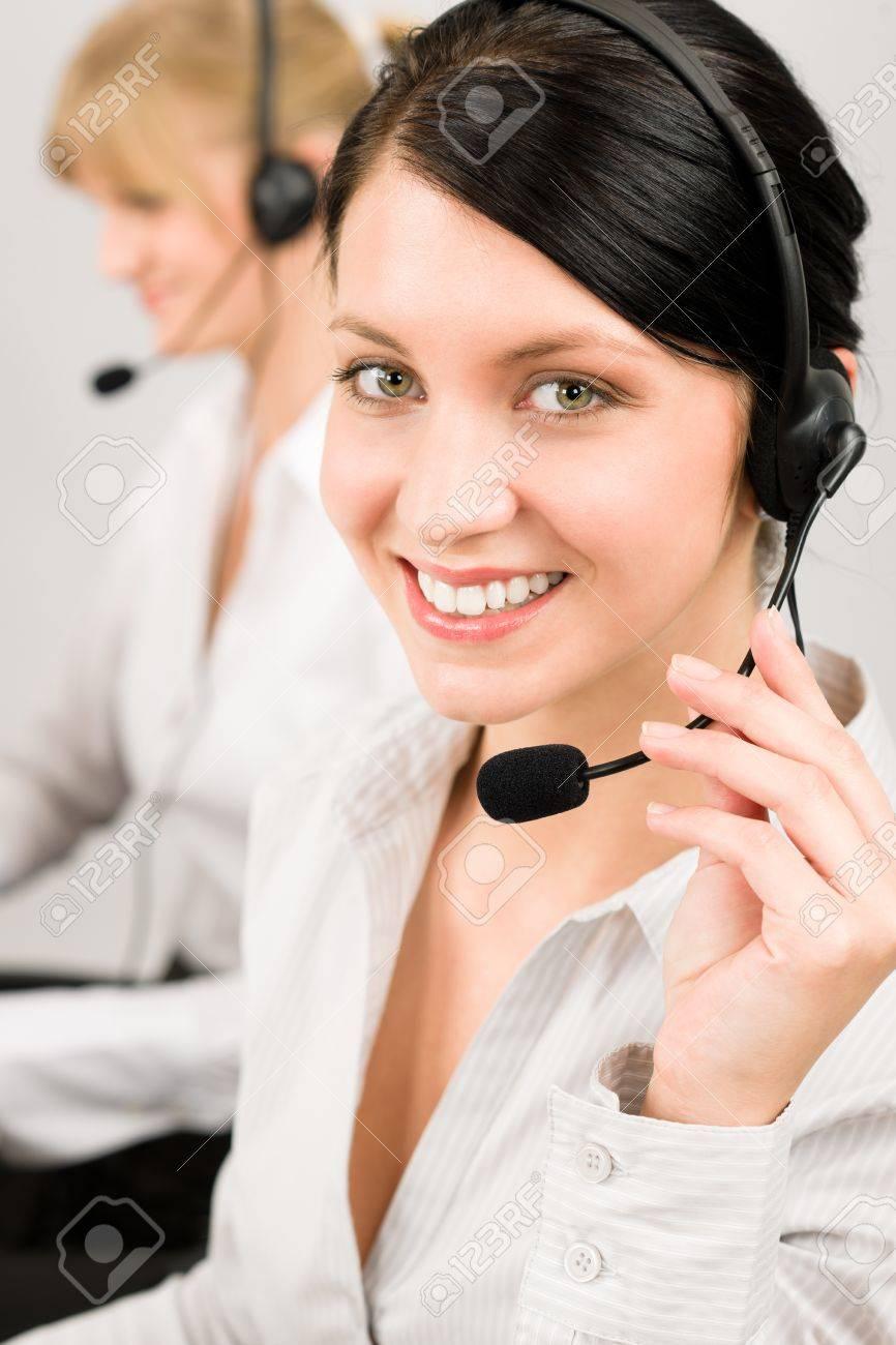 Customer service team woman call center smiling operator phone headset Stock Photo - 11950877