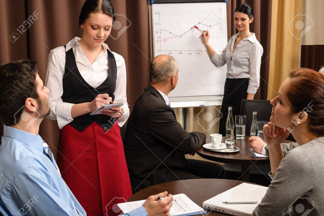 waitress take order people at business meeting flipchart