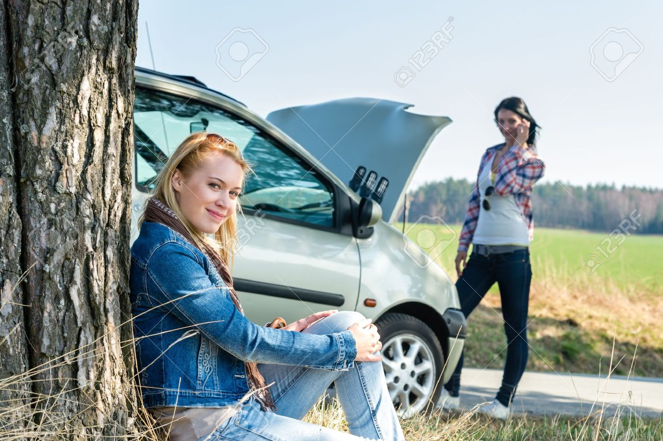 Car Failure Two Young Women Waiting For Help Road Assistance Stock ...