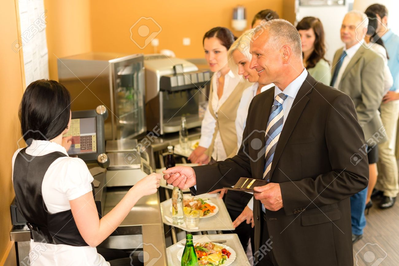 Cafeteria Man Pay By Credit Card Cashier Food On Serving Tray Stock ...