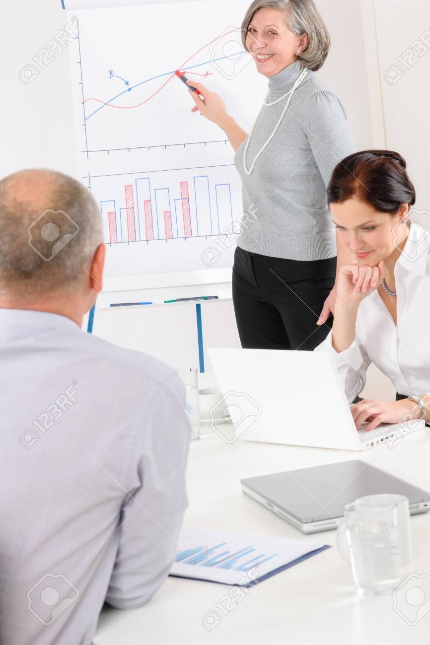 Giving presentation senior businesswoman pointing at flip chart team meeting Stock Photo - 14030617