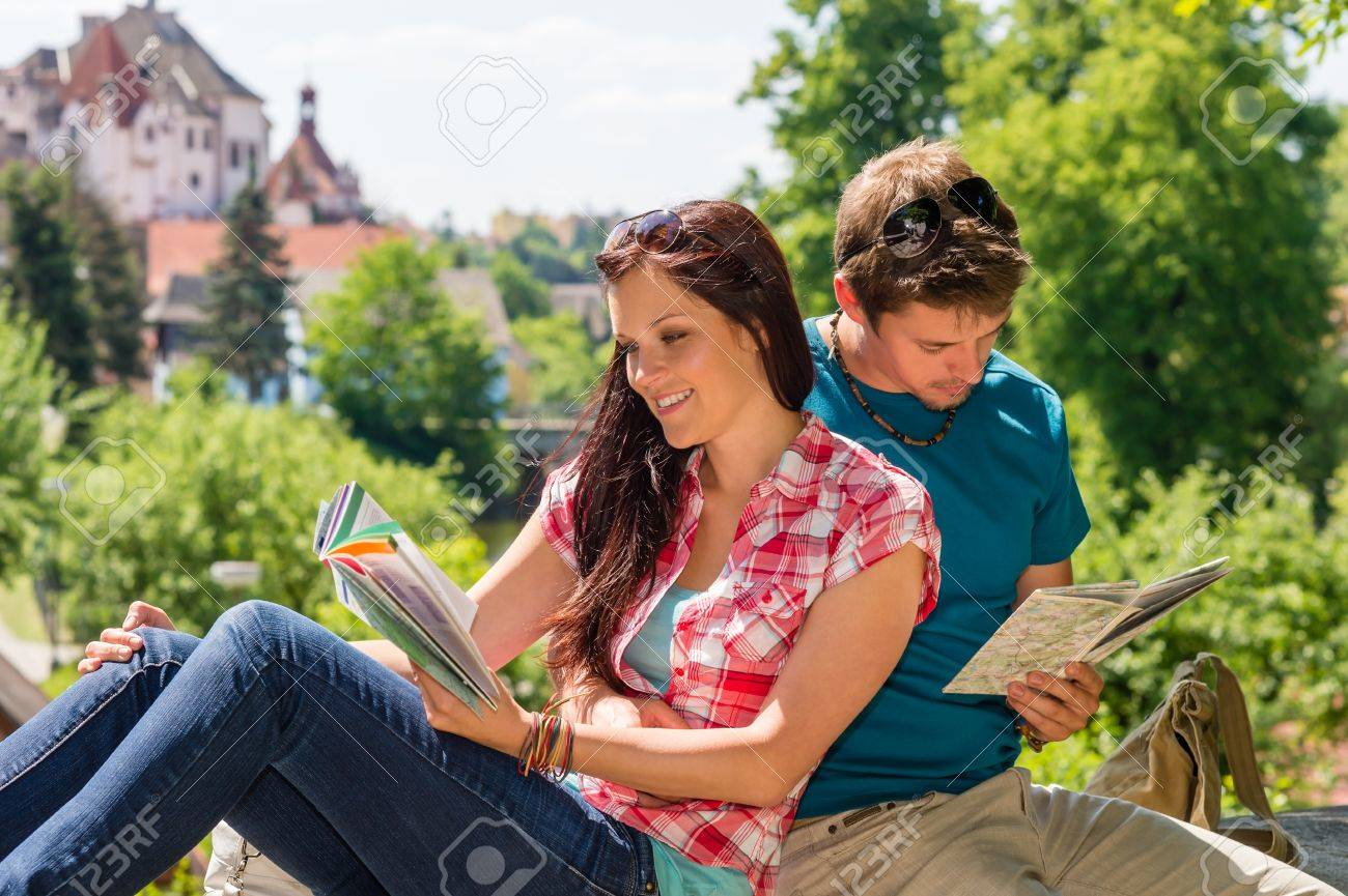 Young Happy Couple Reading Map City Guide Embrace Smiling Travel