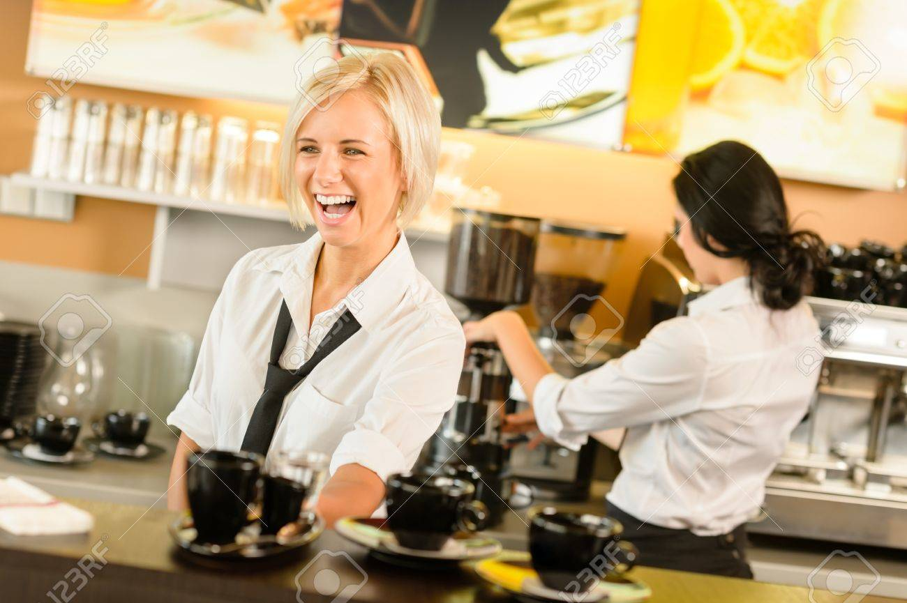 Waitress serving coffee cups making espresso woman cafe bar working Stock Photo - 15501030