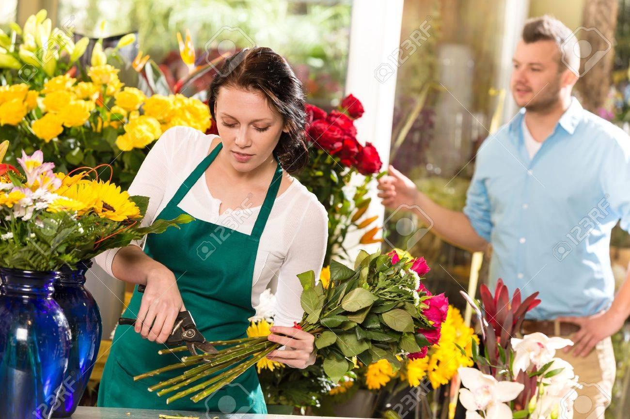 Woman Florist Cutting Flowers Shop Bouquet Man Customer Choosing ...