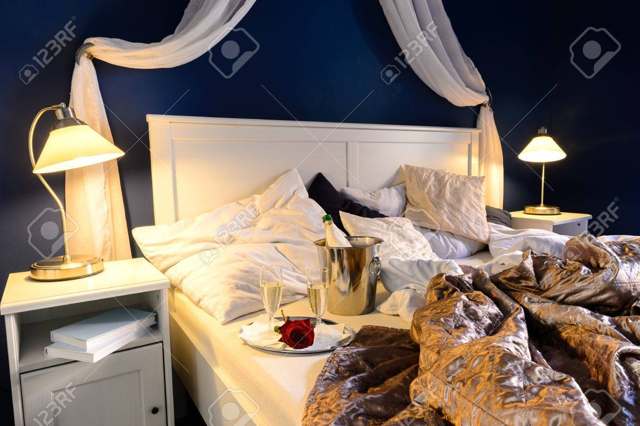 Rumpled Sheets Luxury Hotel Bedroom Romantic Night Unmade Bed Stock Photo
