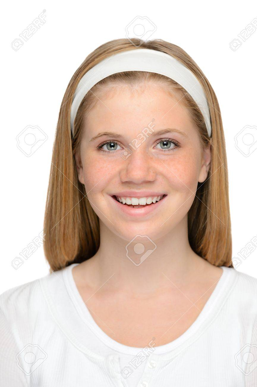 Happy young blonde girl smiling clean skin portrait Stock Photo - 18969706