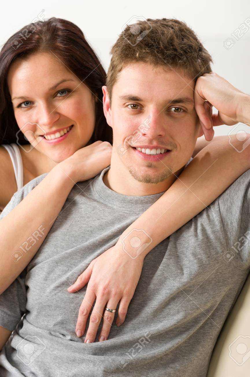 Portrait of smiling happy couple together Stock Photo - 20142145