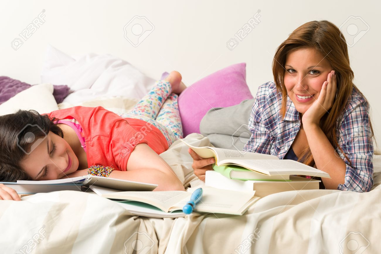 Young caucasian girls studying at home Stock Photo - 20244514