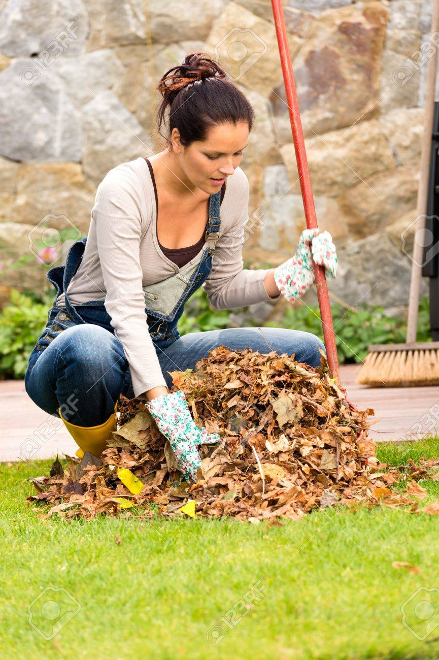 Young woman raking dry leaves pile backyard housework fall Standard-Bild - 22144326