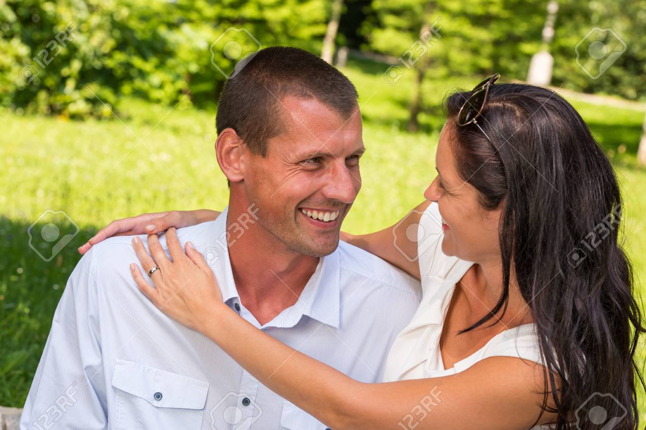 Portrait of young Caucasian couple outdoors Stock Photo - 22213510