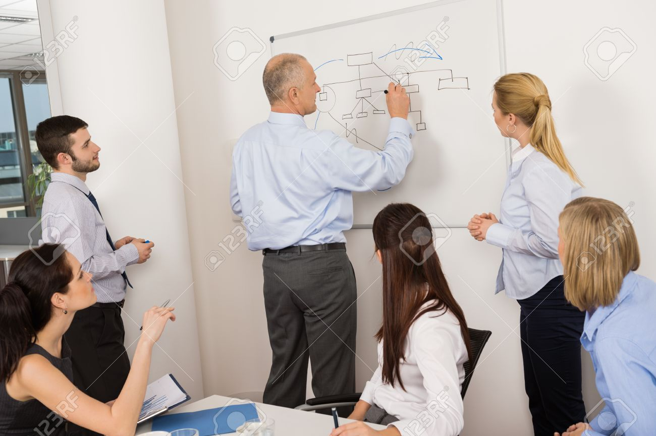 Business colleagues discussing strategy on whiteboard in meeting Standard-Bild - 27281174
