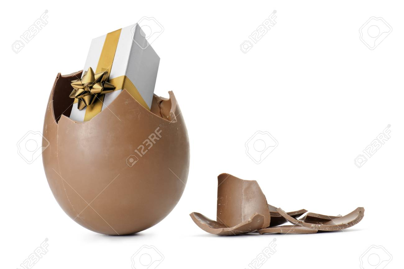 Chocolate easter egg with gift box isolated on white stock photo chocolate easter egg with gift box isolated on white stock photo 12757421 negle Image collections