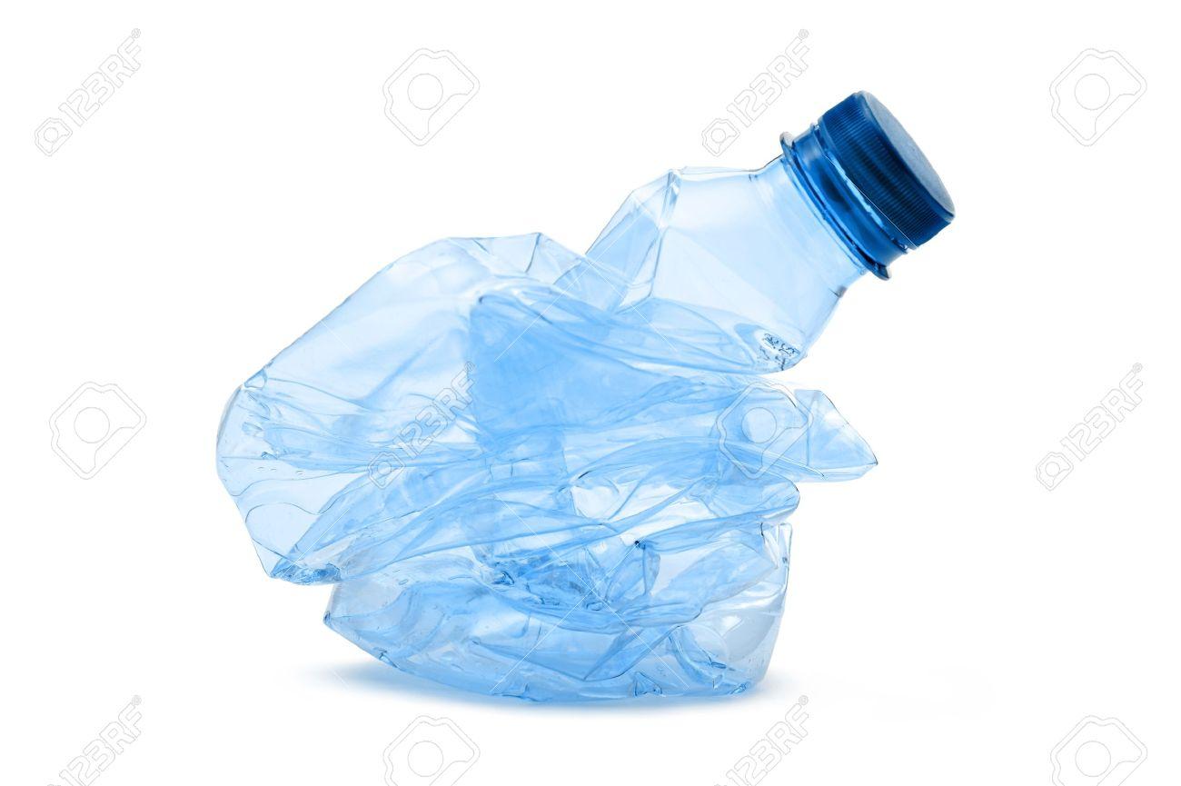 crushed plastic bottle on white background Stock