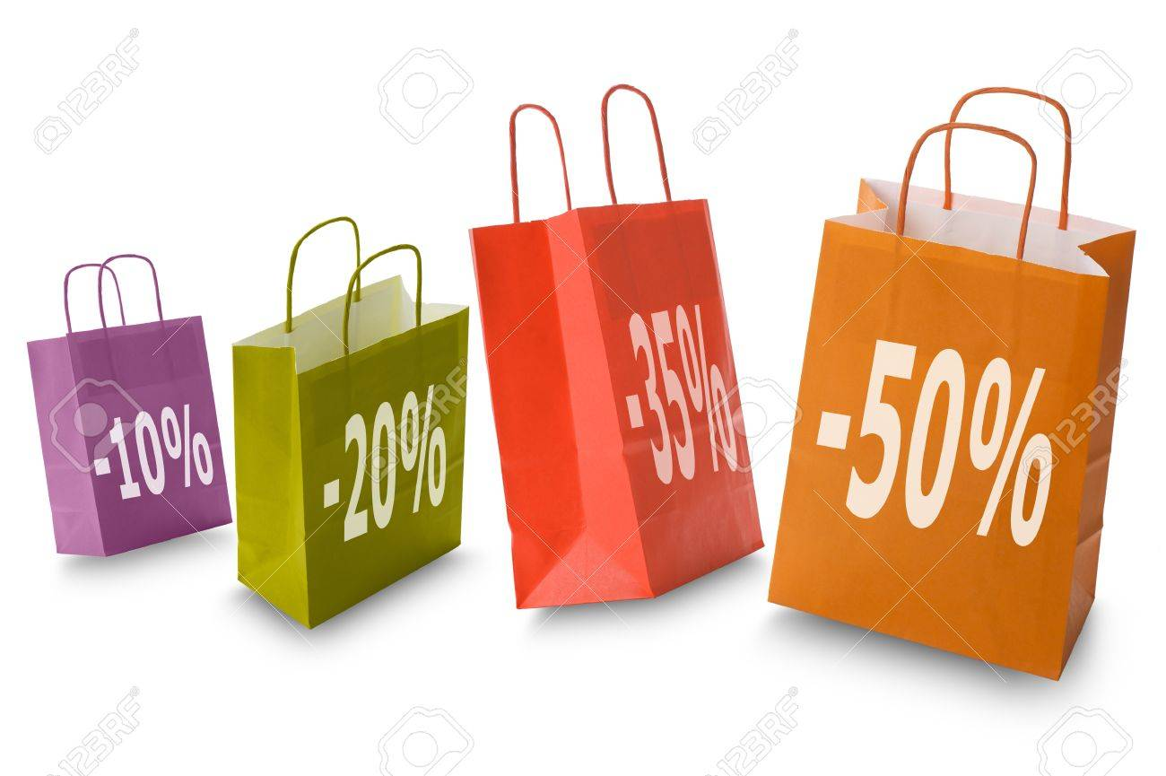 Colorful Shopping Bags With Discount Icon, Isolated On White Stock ...