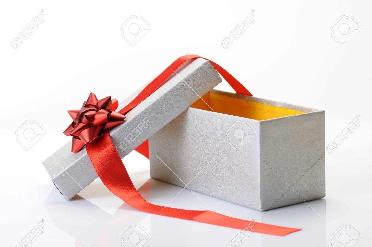 Open gift box with bow and red ribbon on white background open gift box with bow and red ribbon on white background 17951718 negle Gallery