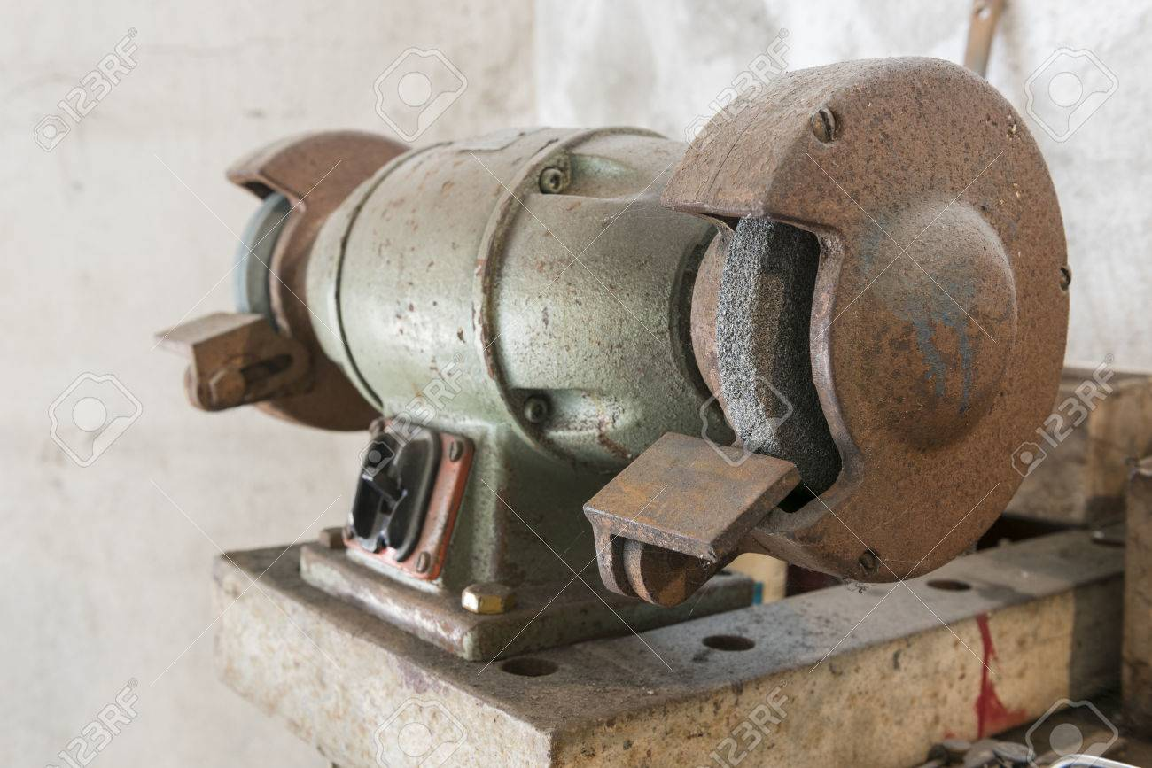 Super Old Grinder On Workbench With Old Work Tools In Home Garage Download Free Architecture Designs Sospemadebymaigaardcom