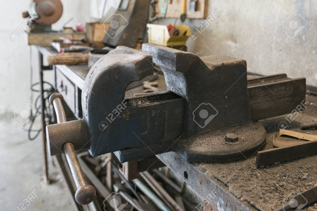 Tremendous Old Bench Vise With Old Work Tools In Home Garage Download Free Architecture Designs Sospemadebymaigaardcom