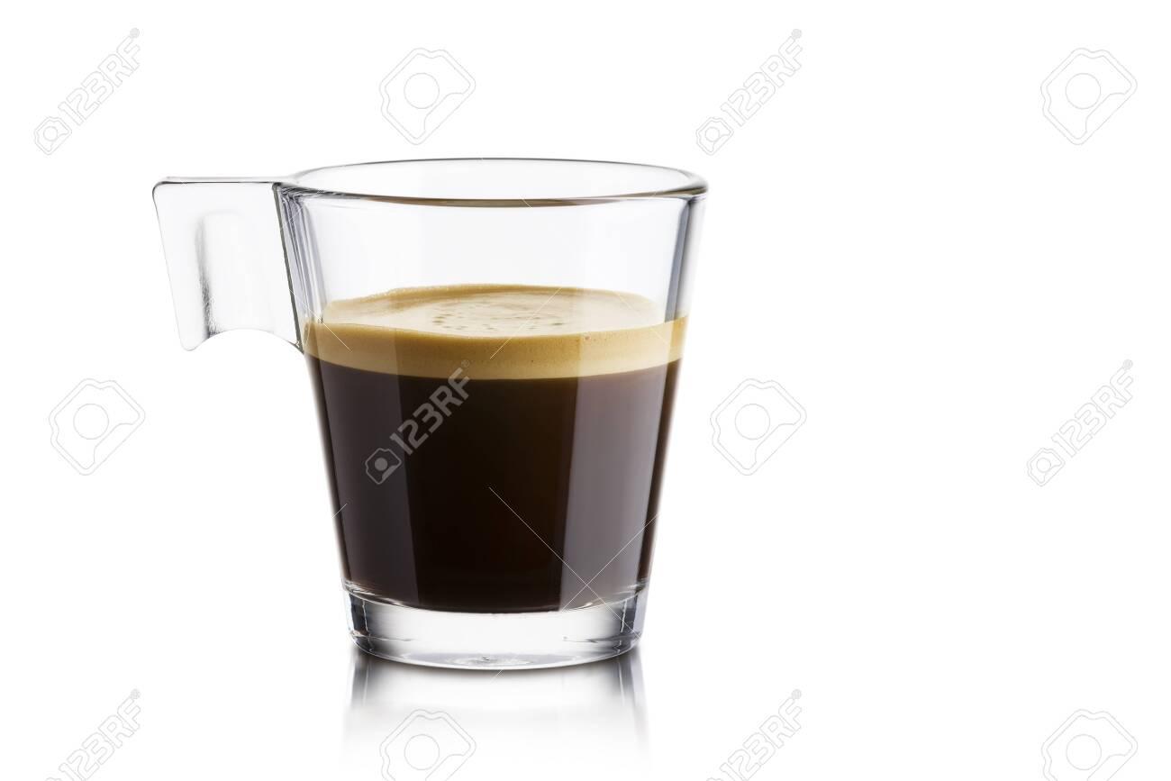 Black coffee in glass cup on white background - 122715627