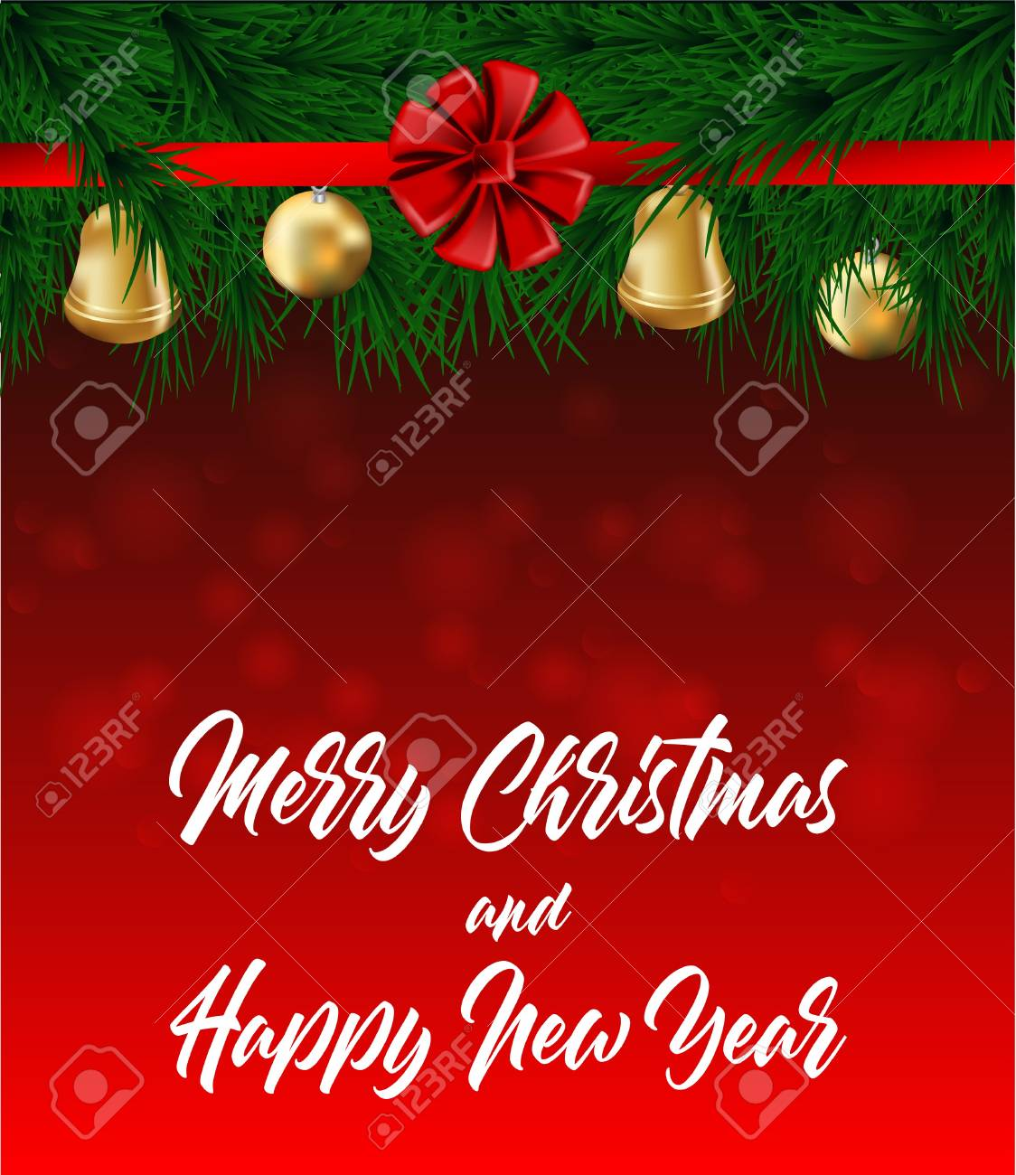merry christmas and happy new year card christmas decoration design christmas tree bells