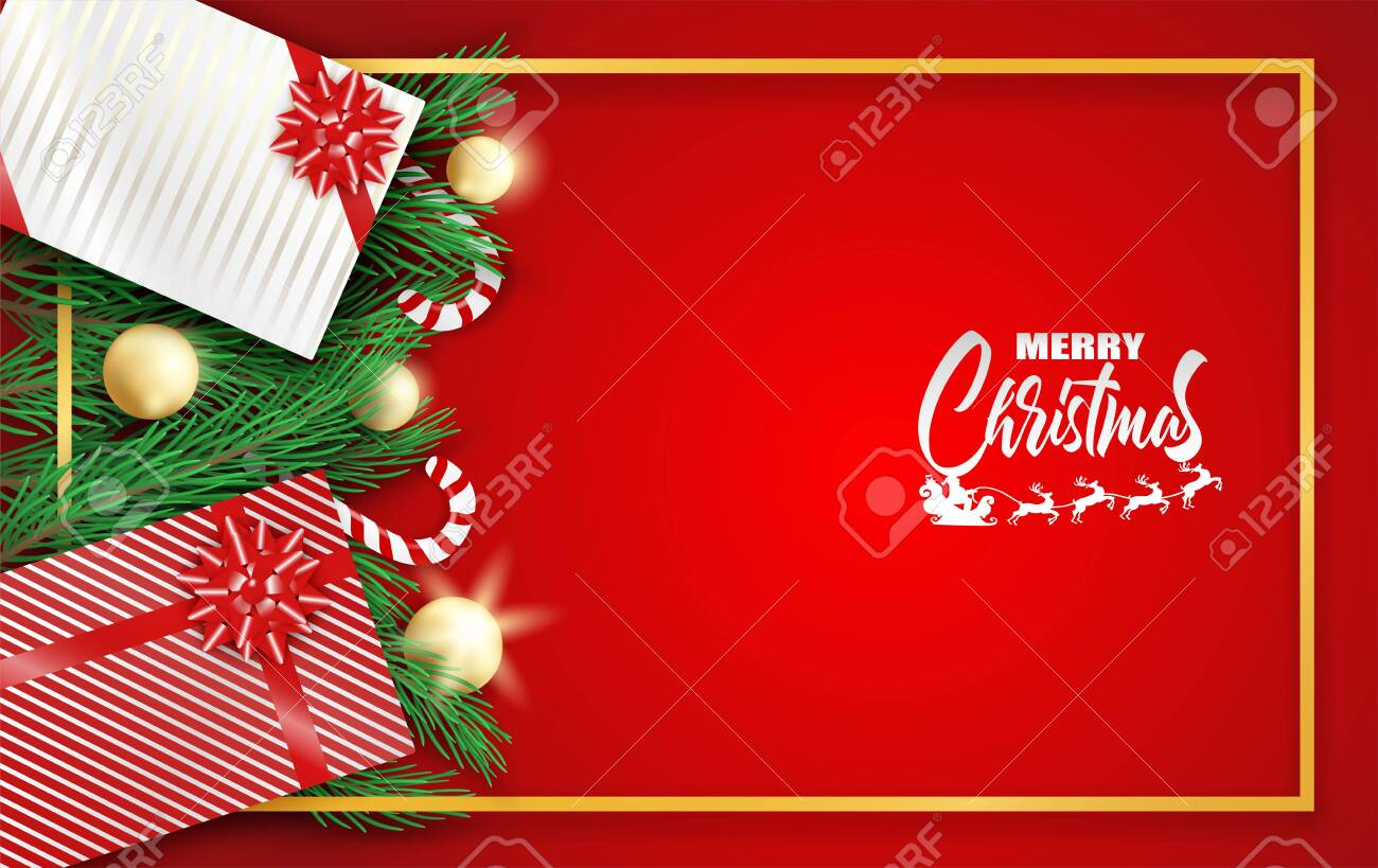 Merry Christmas Design With Christmas Tree Gift Box And Candy Royalty Free Cliparts Vectors And Stock Illustration Image 134650544
