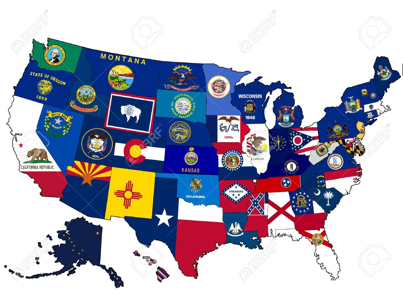 Map Of Usa With State Flags Stock Photo Picture And Royalty Free