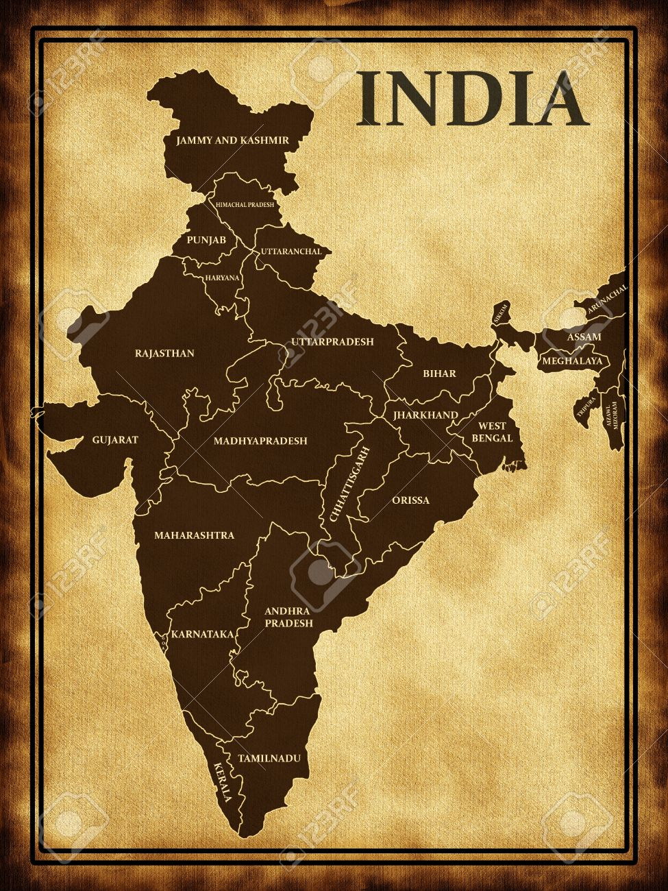 Map Of India On The Old Background Stock Photo Picture And Royalty