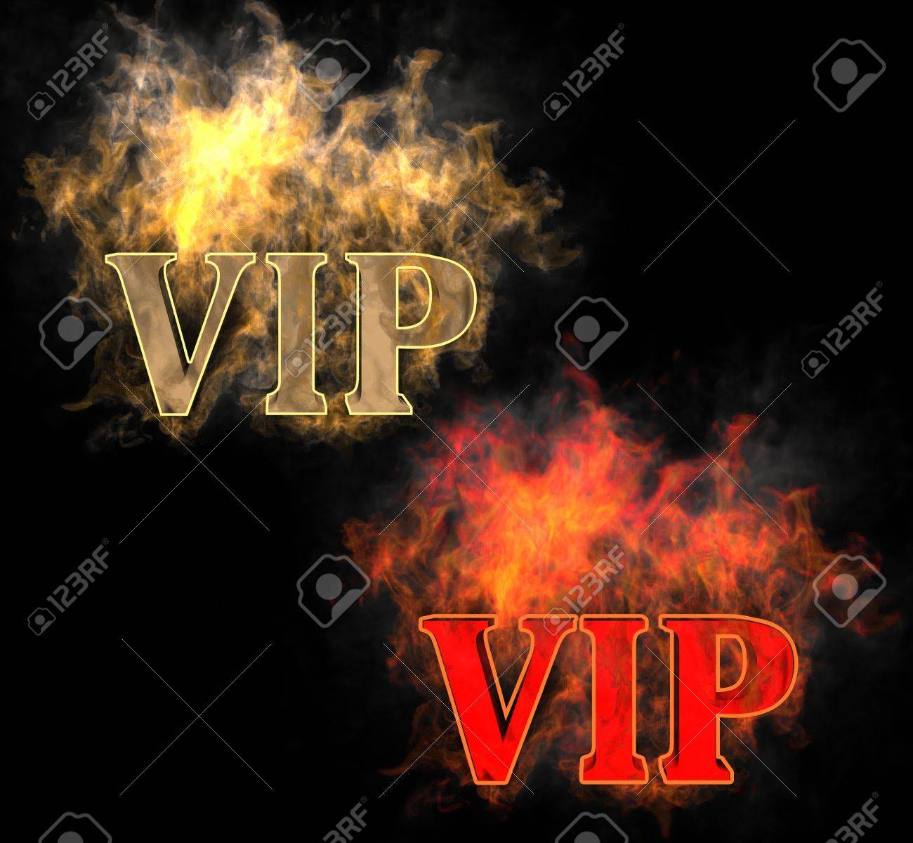 The inscription VIP in the fire Stock Photo - 12860051