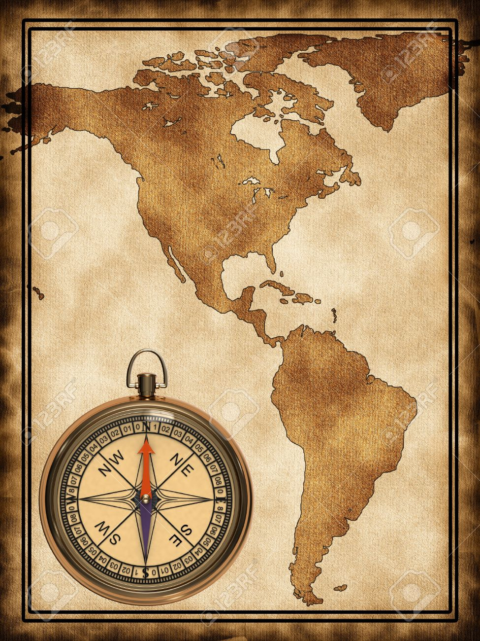 Map With A Compass North And South America Stock Photo, Picture And ...