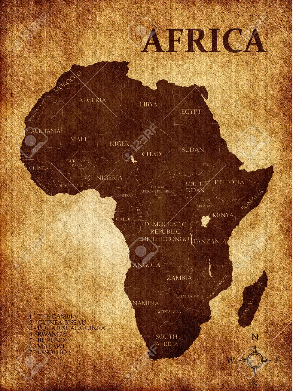 Map Of Africa On The Old Background Stock Photo, Picture And