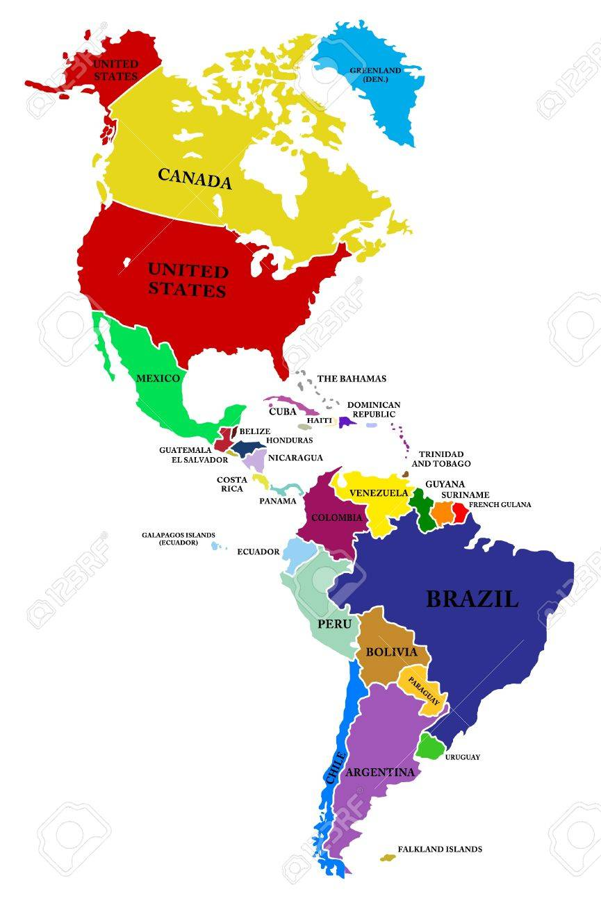 Maps Of North And South America A Map North And South America Stock Photo, Picture And Royalty