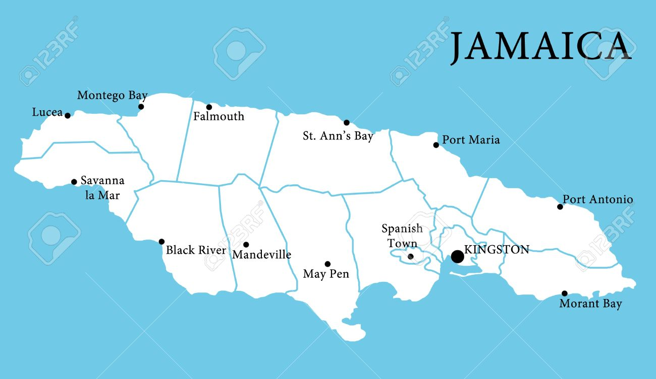 Map Of Jamaica With Cities Stock Photo, Picture And Royalty Free ...