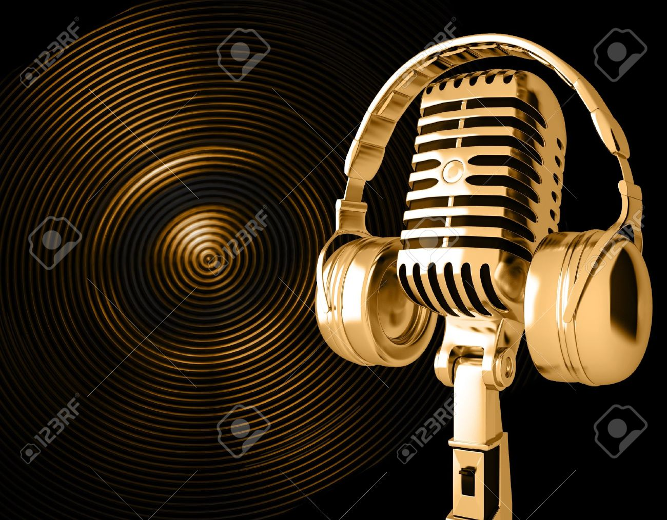 Microphone with headphones on background Stock Photo - 13609247