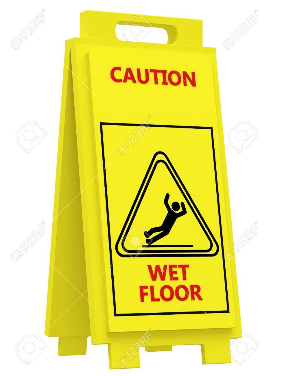 archivio fotografico iscriviti attenzione pavimento bagnato