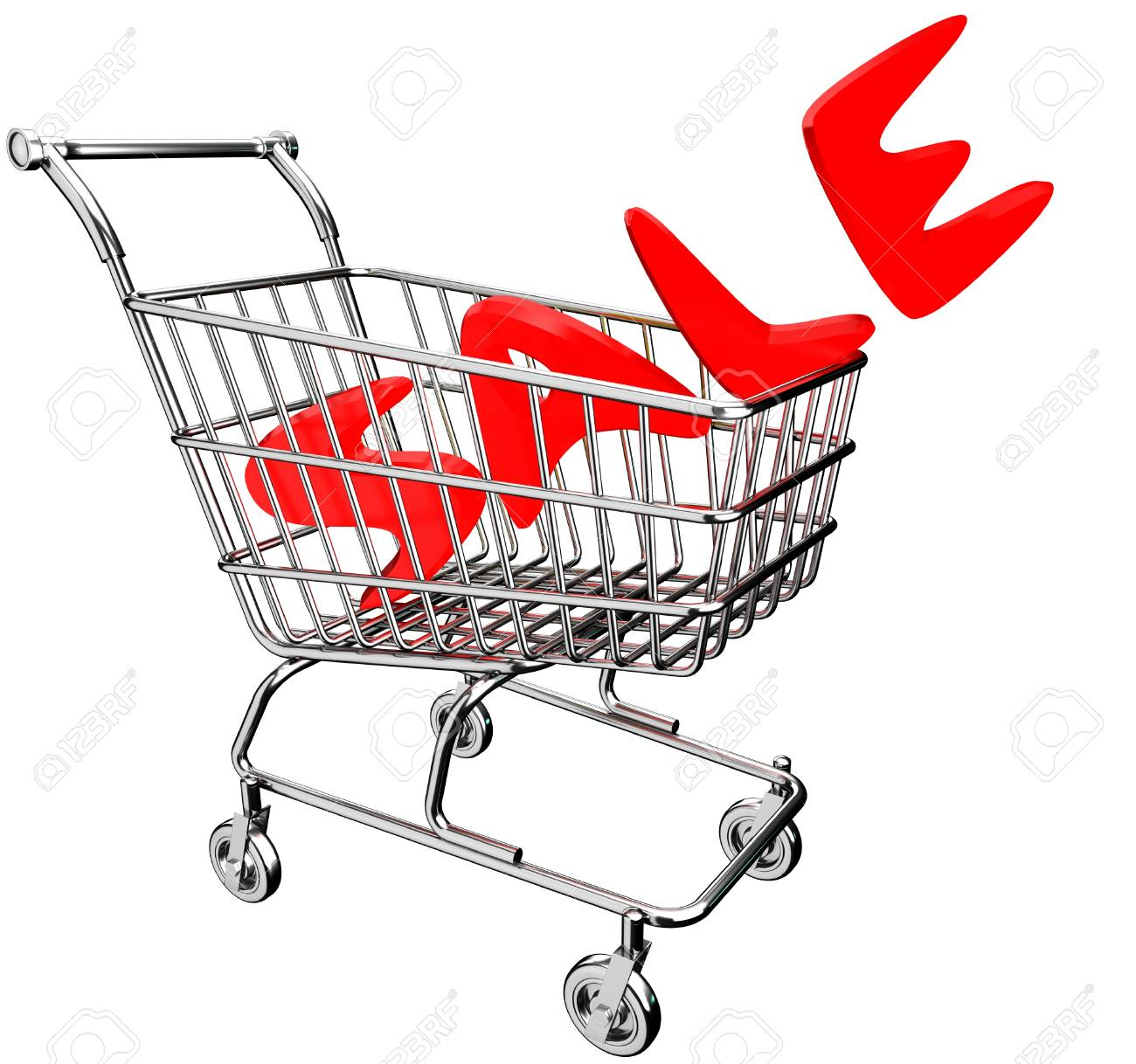 3d shopping cart with inscription sale stock photo picture and