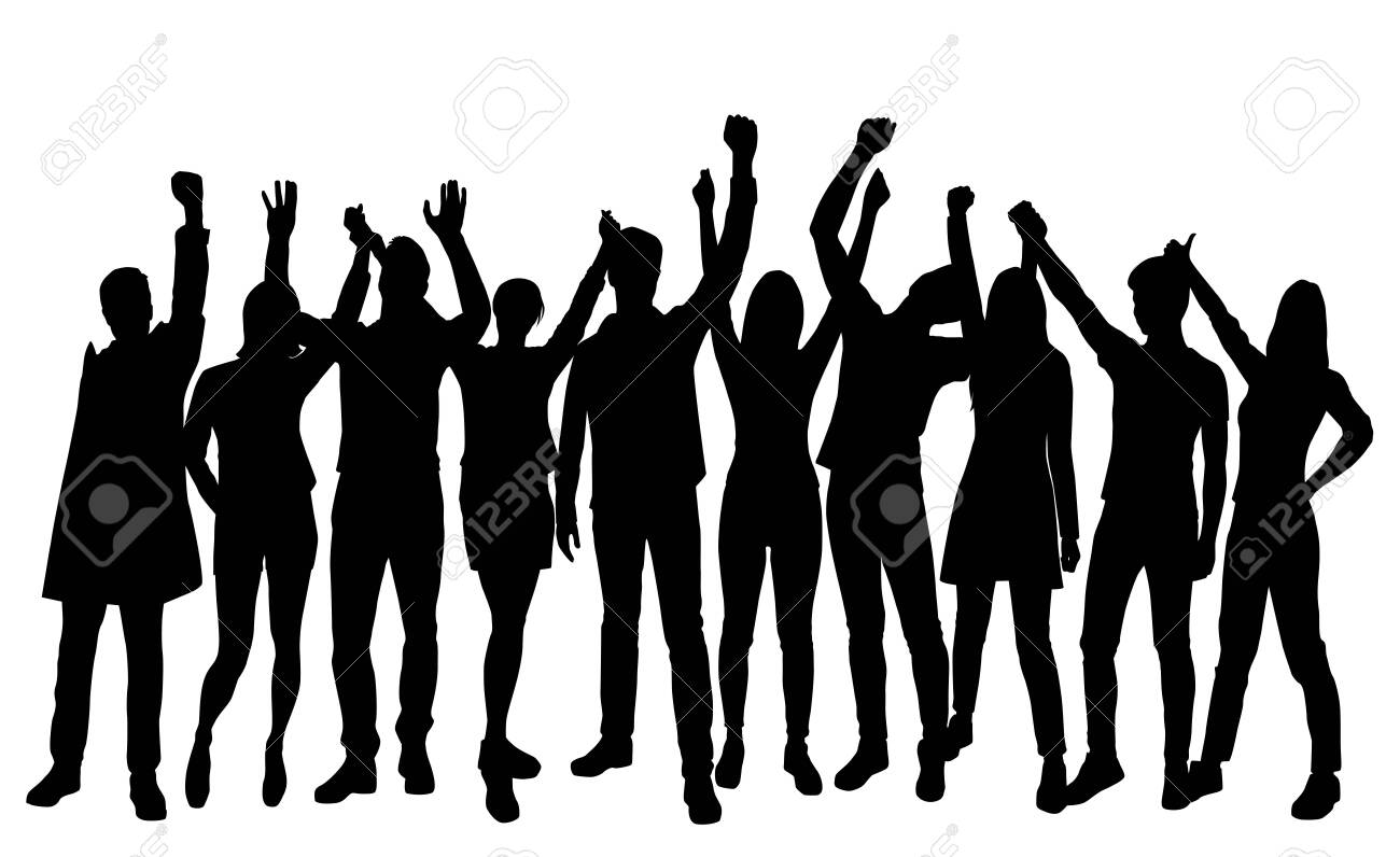 Set silhouettes man and woman standing with hands up, group of people, black color isolated on white background - 123797472