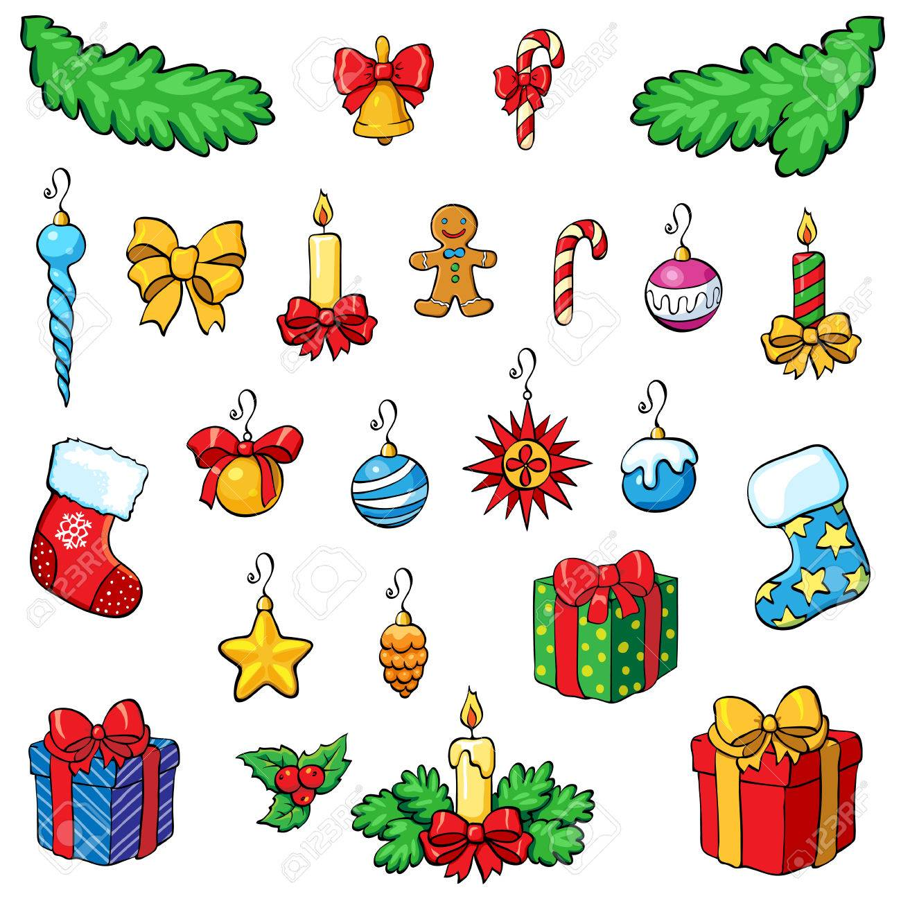 Christmas Vectors.Christmas Vector Set Christmas Decorations With Gifts