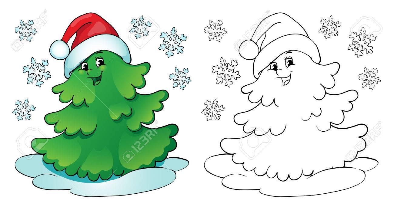 Libro Para Colorear O Una Página, La Ilustración. Árbol De Navidad ...