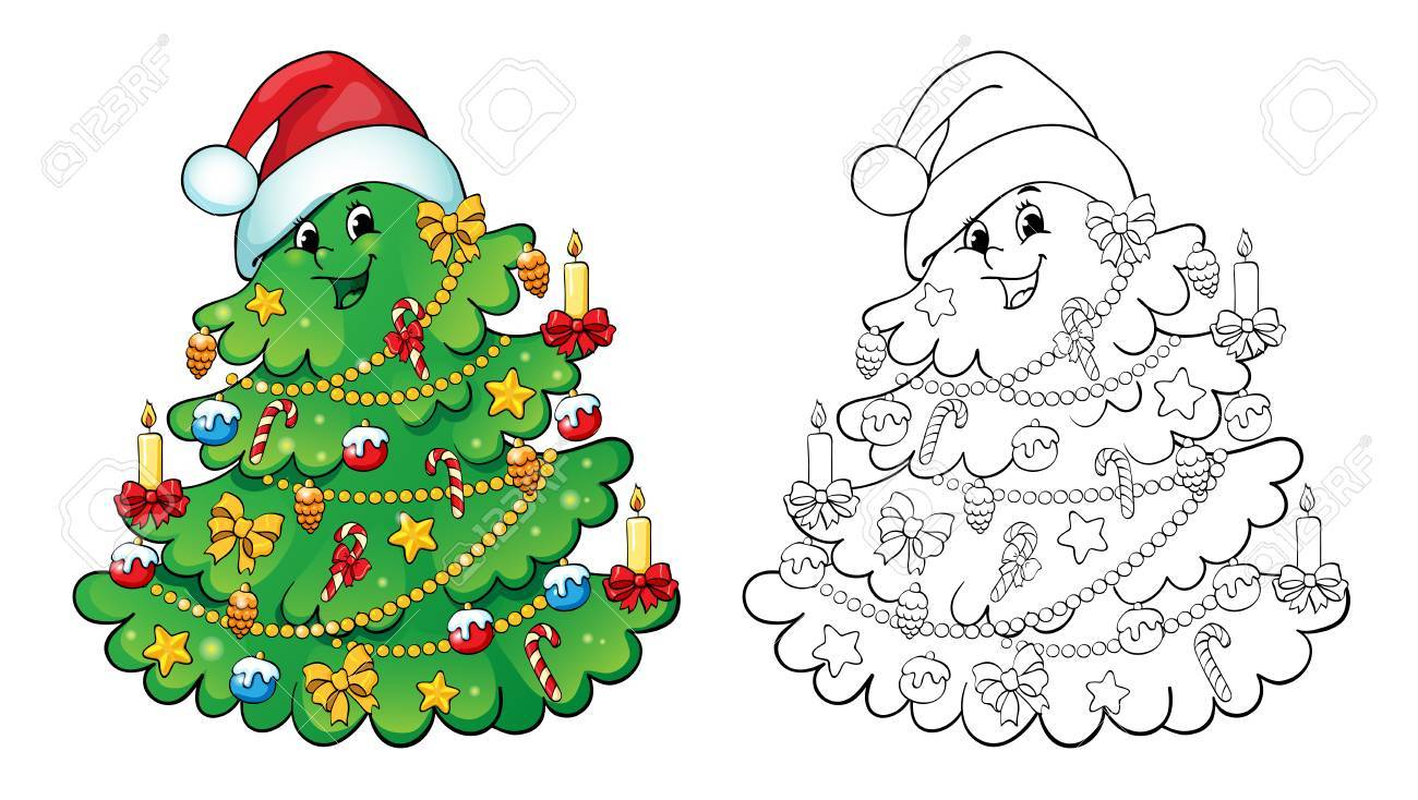 Coloring Book Or Page, Illustration. Christmas Tree With Decorations ...