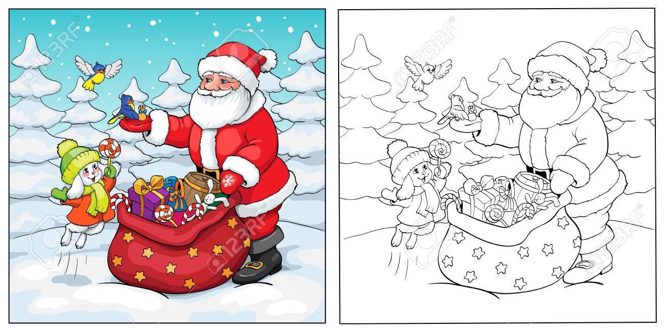 Coloring book or page santa claus rabbit and birds with santa claus rabbit and birds with christmas gifts stock kristyandbryce Choice Image