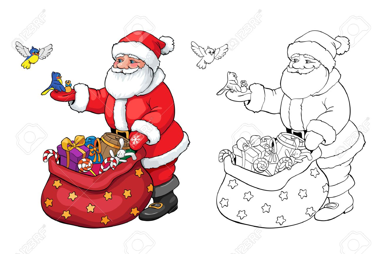 coloring book or page santa claus and birds with christmas gifts stock vector - Coloring Book Santa Claus