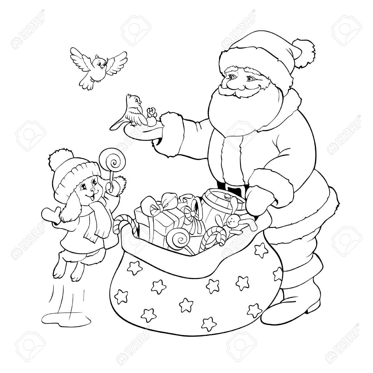 Coloring Book Or Page. Santa Claus, Rabbit And Birds With Christmas ...