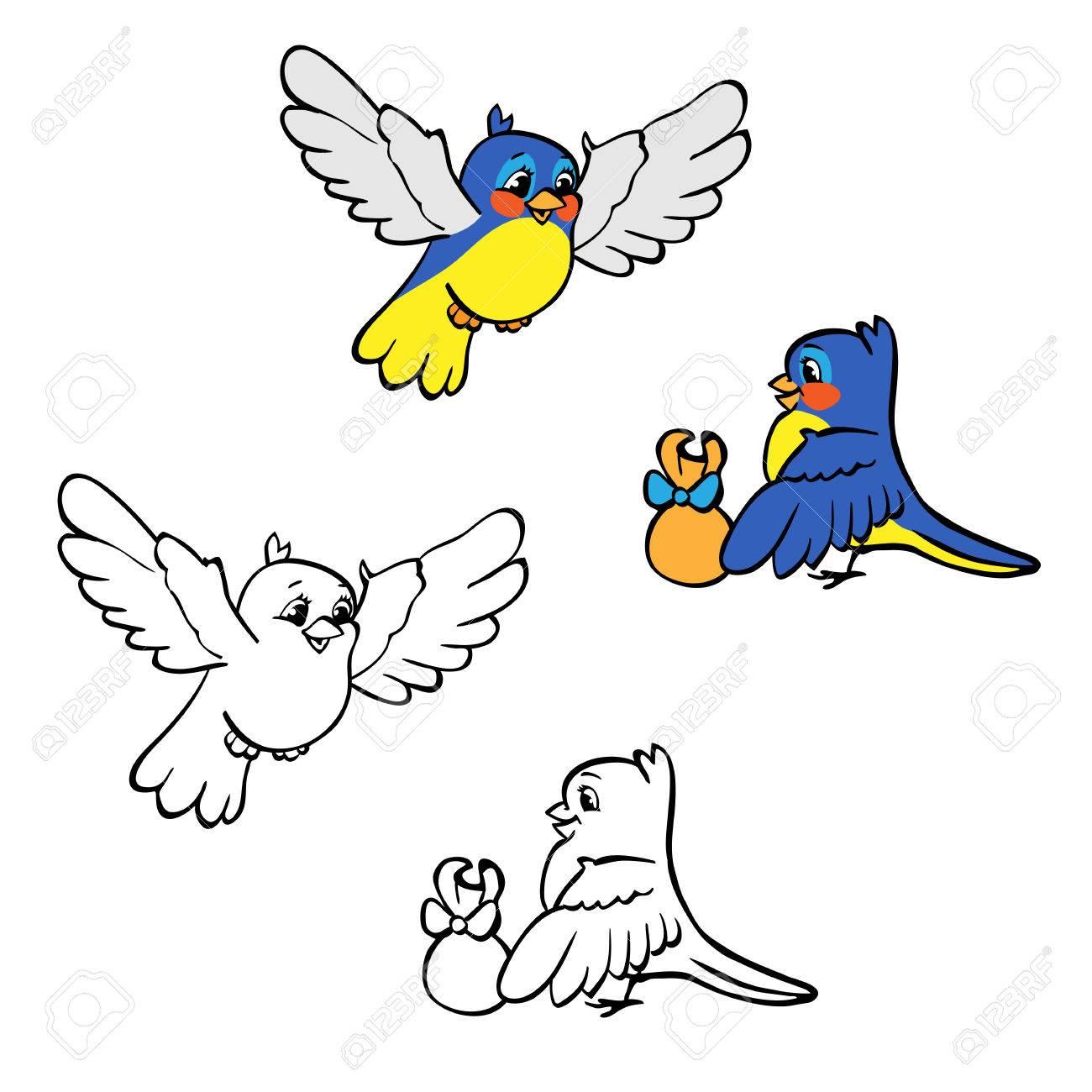 Libro Para Colorear O Página. Azul Y Pájaros Amarillos Con El Regalo ...