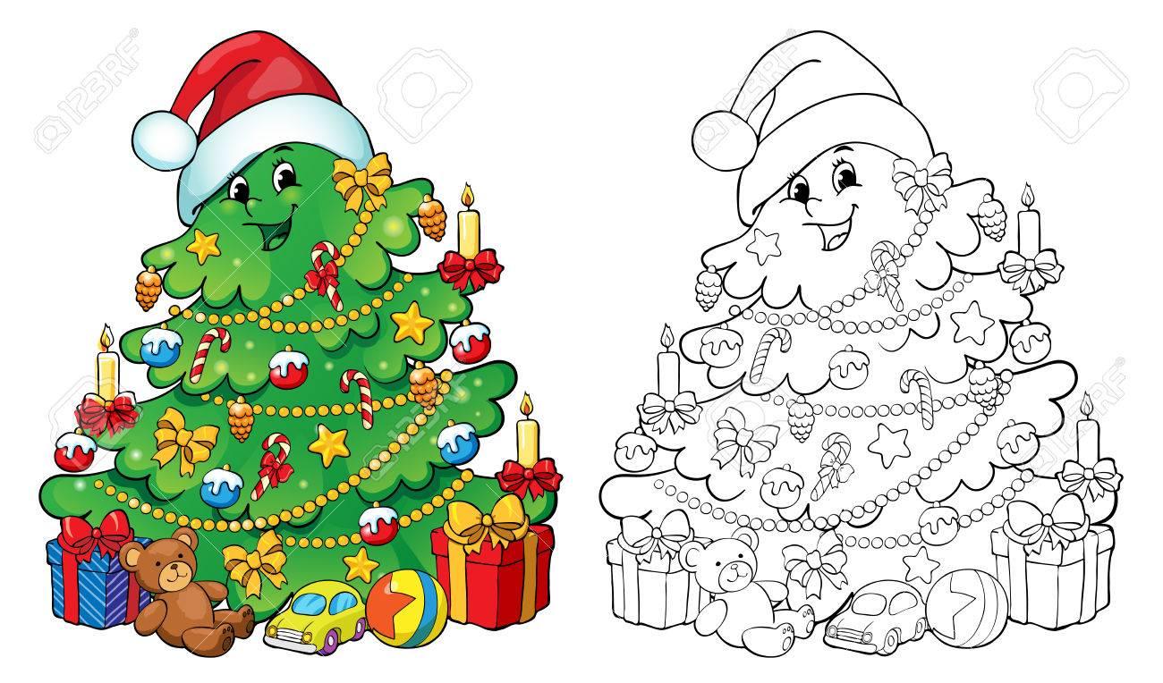 Libro Para Colorear O Página Ilustración árbol De Navidad Con Decoraciones Y Regalos Saludo Concepto De Tarjeta