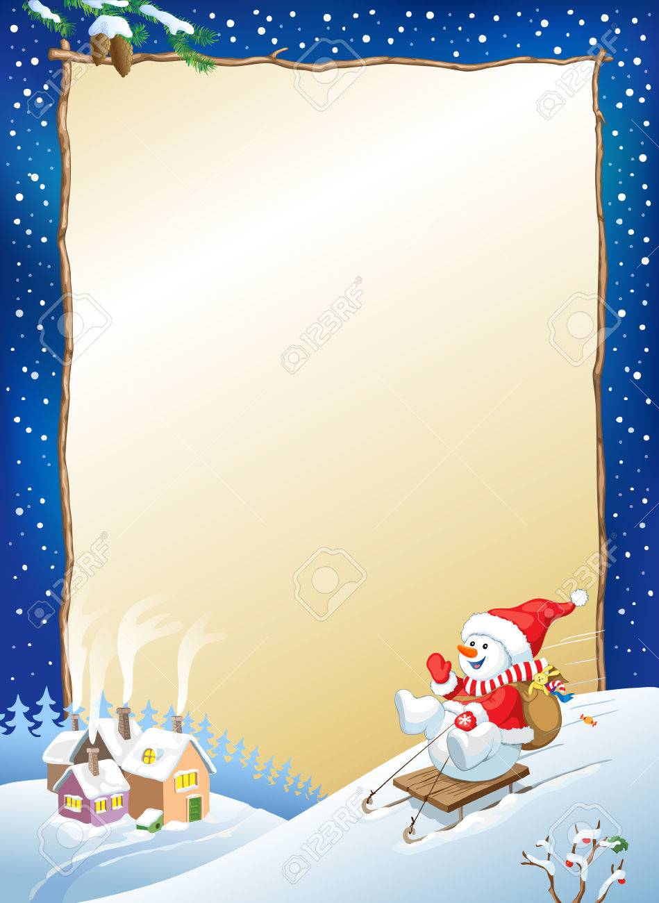 vector christmas background with snowman on sled with gifts