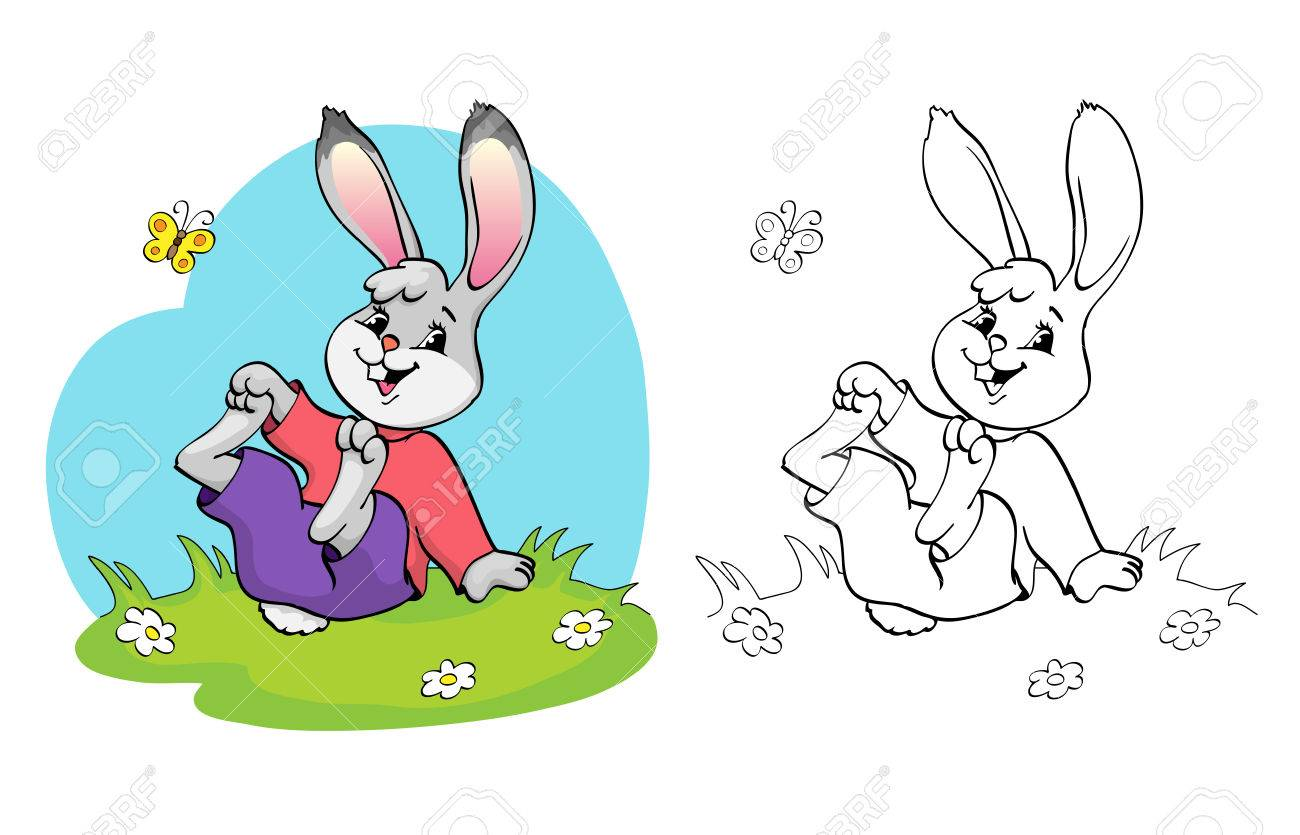 Coloring Book Or Page Cute Rabbit In A Meadow Among The Daisies And Butterfly