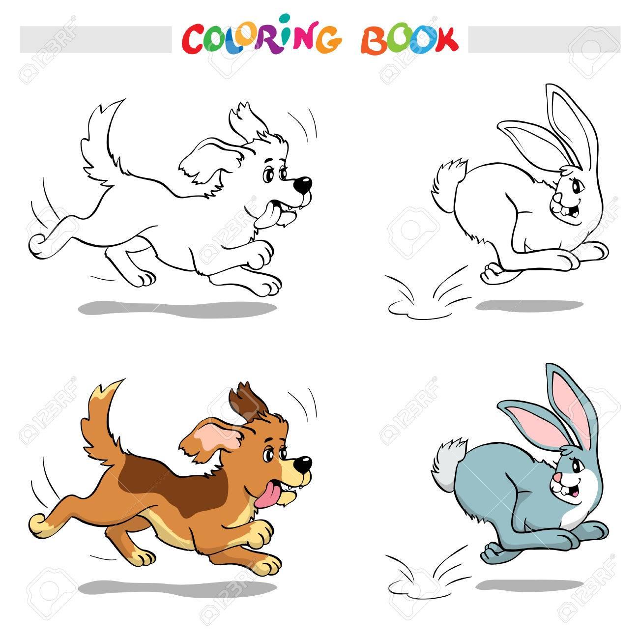 Libro De Colorante O Página. Escena - Perro Que Persigue Un Conejo ...