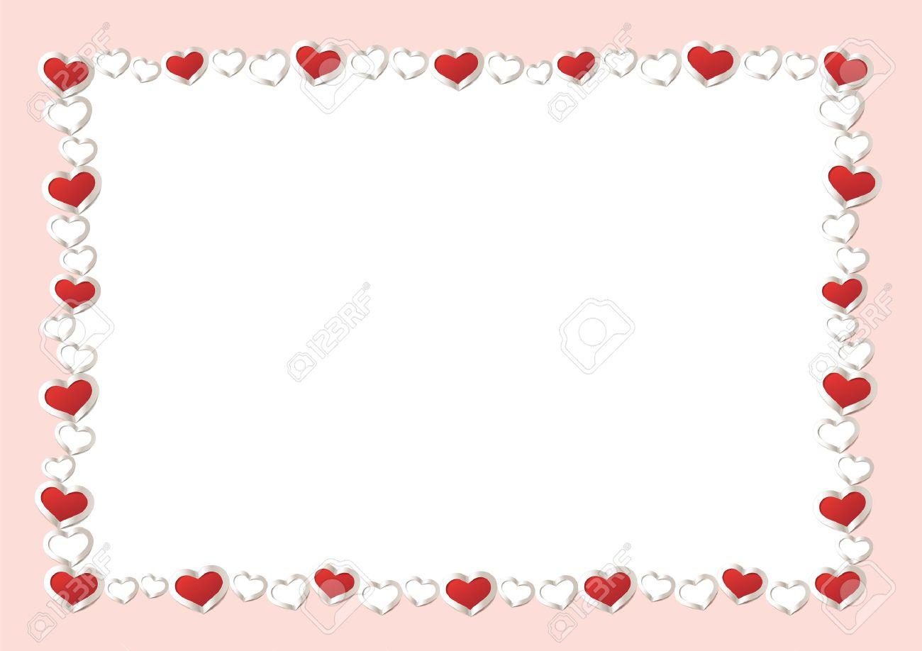 Valentinstag Hintergrund. Red Hearts Border Frame. Vektor Rahmen Mit  Gorizontal Platz Für Ihren