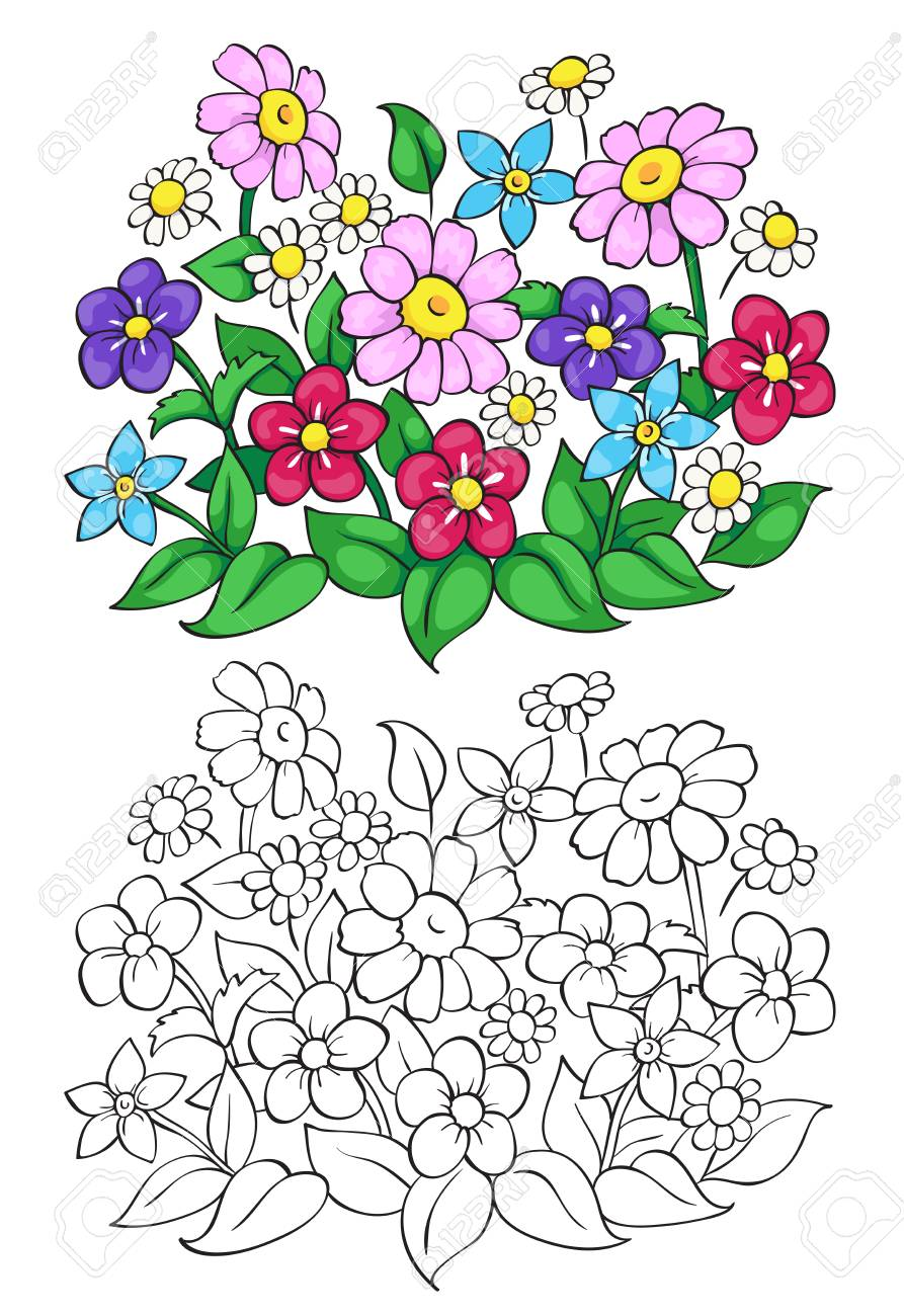 Coloring Book Or Page With Flower. Vector Illustration. Royalty Free ...