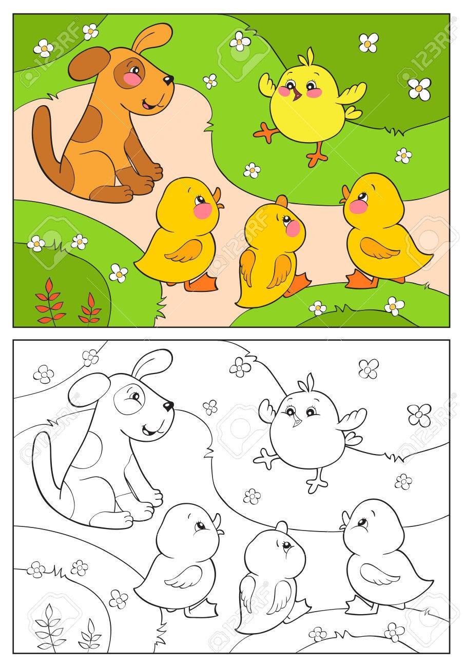 coloring book or page a yellow chicken cheers ducks and puppy